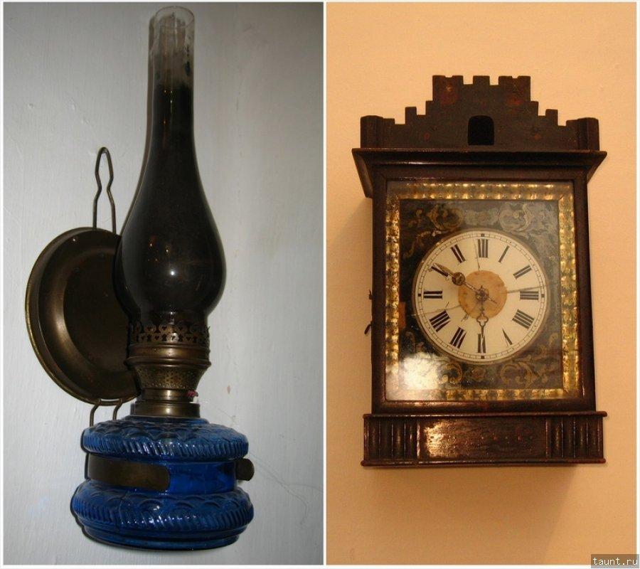 Лампа и часы