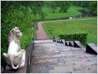 Лев, лестница, канал, кусты