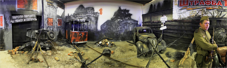 Панорама экспозиции Мотоклуба Штафбат